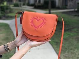 NWT Coach F11784 Women X Keith Haring Orange Heart Leather Hudson Crossb... - $169.99