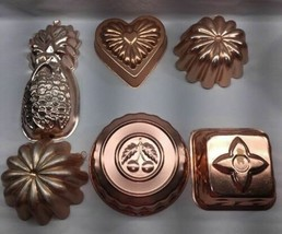 *Jello Cake Dessert COPPER MOLDS Various Heart Pineapple Mellon Lot Anti... - $16.82