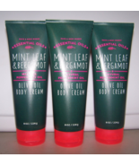 3 Bath & Body Works Essential Oils Mint Leaf & Bergamot Olive Oil Body C... - $29.99