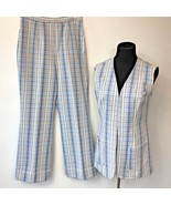 Vintage 1970s Sears Knit Boutique Blue Leisure Vest & Pants Set size 14 ... - $19.95