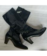 Salvatore Ferragamo Knee High Leather Low Heel Vero Cuoio Boots Zip Up S... - $83.87