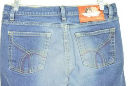 Fiorucci jeans 9 x 31 vintage buttons on pockets medium dark wash thick straight image 3