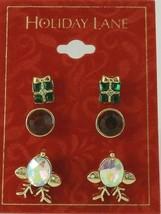 Charter Club Holiday Lane Gold-Tone 3-Pc. Set Reindeer & Present Stud Earrings image 2