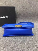 AUTHENTIC CHANEL ROYAL BLUE QUILTED VELVET MEDIUM BOY FLAP BAG SHW image 5