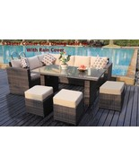 9 Seater Corner Sofa Dining Table Set Patio Outdoor Rattan Furniture Mix... - $958.22