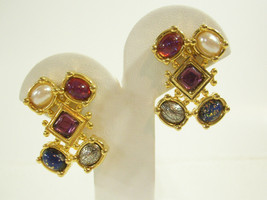 PREMIER DESIGN Jewel Tone Cabs Gold Plate Clip Earrings Pearl Confetti Cabs - $14.84