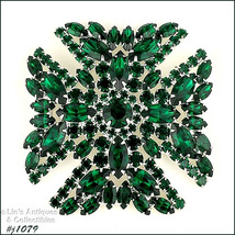 Signed Eisenberg Maltese Cross Pin Emerald Green Rhinestones (#J1079) - $200.00