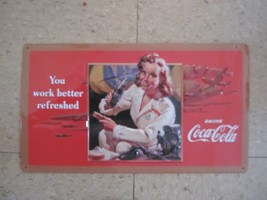 "Embossed Tin Coca-Cola ""Coke Work Better Refreshed"" Sign -NEW - $18.80"