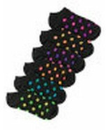 Hanes Women's Dots Low-Cut Socks 6-Pack Black with Neon Colored Dots NIP - $16.92