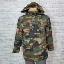 POLO Ralph Lauren Boys L Camouflage Military Jacket Hooded Patch Big Kids - $93.49