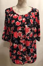 NEW JM Jonathan Martin Floral Print Side Slit Sleeve Career Tunic Blouse... - $14.99