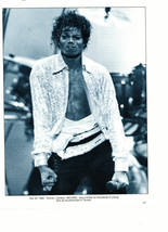 Michael Jackson teen magazine pinup clipping open shirt black and white Triller
