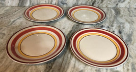 "Royal Norfolk 10 1/2"" Dinner Plates Set Of 4 Red/Yellow Circle Print-NEW... - $48.88"