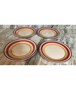 "Royal Norfolk 10 1/2"" Dinner Plates Set Of 4 Red/Yellow Circle Print-NEW... - $48.88"