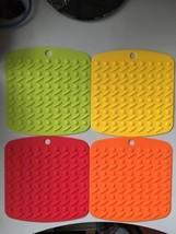Set of 4 Silicone Pot Holders Mat No Slip Hot Pad Jar Open  Sp Rest Flex... - $18.86