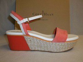 Cole Haan Size 9 M ARDEN WEDGE Orange Pop Leather Sandals New Womens Shoes - $88.51