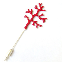 Coral Red Silver Sea Branch Beach Nautical Lovely Elegant Brooch Pin Gift - $8.99