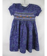 Sissymini Baby Girl's Size 24M 100% Cotton Short Sleeve Purple Floral Dress - $20.00