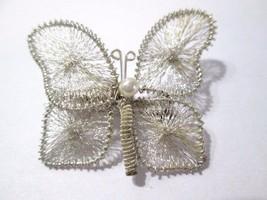 PRETTY WIRE HANDCRAFTED VINTAGE PIN BUTTERFLY FILIGREE WIRE WORK FILIGRE... - $19.00