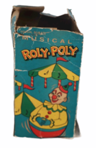 IOB Vintage Roly Poly Clown Toy Weeble Wobble Musical Creepy Scary Face BOX image 5