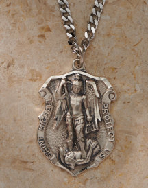 St michael badge pendant silver q17