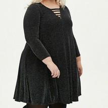 Torrid Size 1X Black Shimmer Ladder Neck Trapeze Mini Dress With Pockets - $37.14