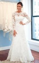 Scoop Illusion Mermaid Long Sleeve Sweep Train Long White Lace Wedding Dress  - $155.00