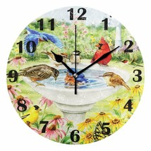 """Wall Clock 10"""" Birds Colorful Water Fountain Floral Nature Shabby Chic F... - $49.00"""