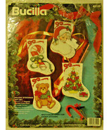 Bucilla Holiday Stockings Counted Cross Stitch Set 4 #83125-NEW opened package - $24.70
