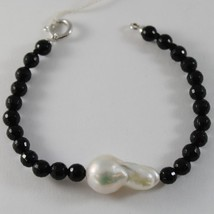 18K WHITE GOLD BRACELET BIG DROP BAROQUE PEARL 25 MM & BLACK ONYX MADE IN ITALY image 1