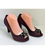 New Giani Bernini Open Toe Heels Santeapur Plum Embossed Rhinestone Leat... - $19.59