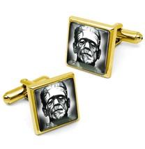 Gold Gothic Frankenstein Universal Horror Glass Halloween Cufflink Set w... - $32.39
