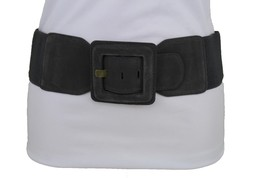 Women Gray Color Faux Suede Leather Elastic Fashion Belt Square Buckle S... - $11.75