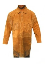 Men New Native American Mountain Man Golden Buckskin Suede Fringes Shirt FS172 - $119.00