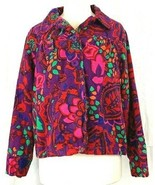 Choices Jacket Size Large Floral Print Purple Red Multi Vtg 70s  - $27.67