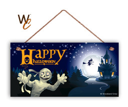 Happy Halloween Sign, Mummy and Witch, Holiday Rustic 5x10 Spooky Wood Sign - $11.39