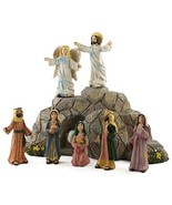 RELIGIOUS EASTER RESURRECTION FIGURINES SCENE STONE JESUS ANGEL STATUE S... - $55.55