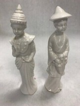 Vintage Pair Asian figurine Oriental man woman Blanc de chine white porc... - $42.56