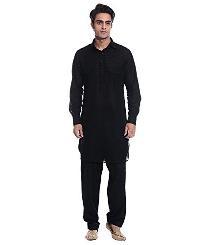 Primary image for Royal Kurta Men's Linen Pathani Suit XX-Small Black