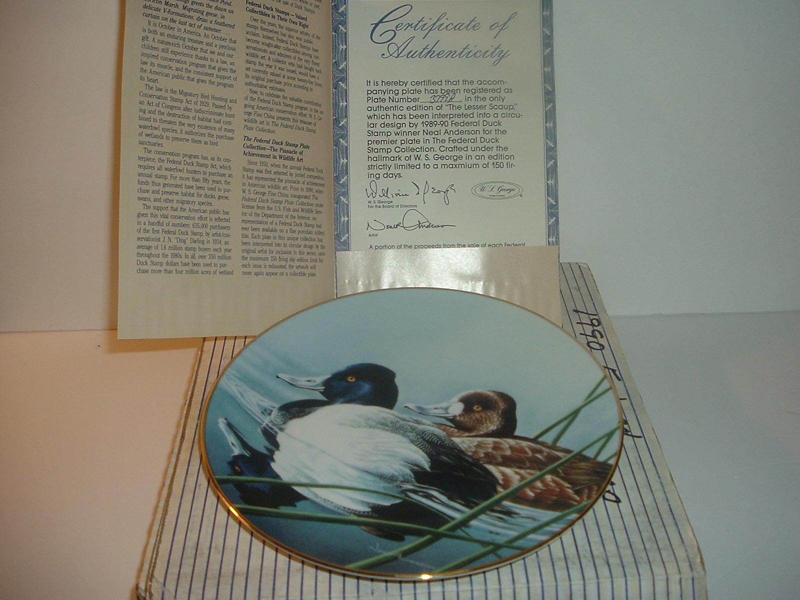 1990 Federal Duck Stamp LESSER SCAUP Duck Ltd Ed Plate W// Box