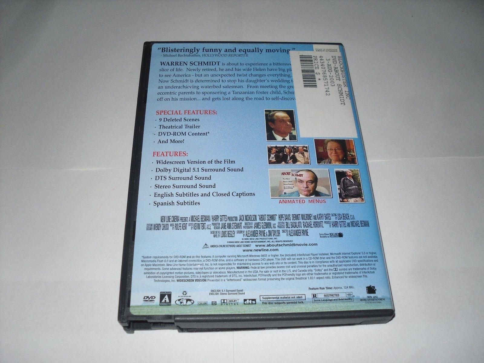 About Schmidt (DVD, 2003) Dermot Mulroney, Kathy Bates, Jack Nicholson