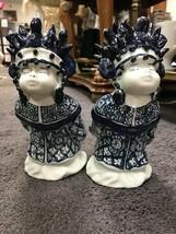 Vintage Pair of Antique Chinese Men Blue and White Ceramic Figurine - $49.99