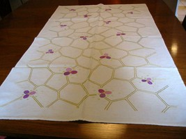 Antique German Embroidered Tablecloth Topper Overlay Honeycomb & Flowers - $16.00