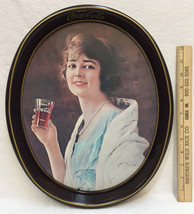 Coca Cola Tray Oval Woman Lady Drinking a Coke from a Glass Metal Tin 19... - $10.88