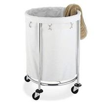 Laundry Basket With Wheels Hamper Round Rolling Removable Bag Chrome Com... - $76.99