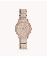 BRAND NEW MICHAEL KORS MK6458 ROSE GOLD STEEL CRYSTAL PAVE WOMEN'S WATCH - £136.27 GBP
