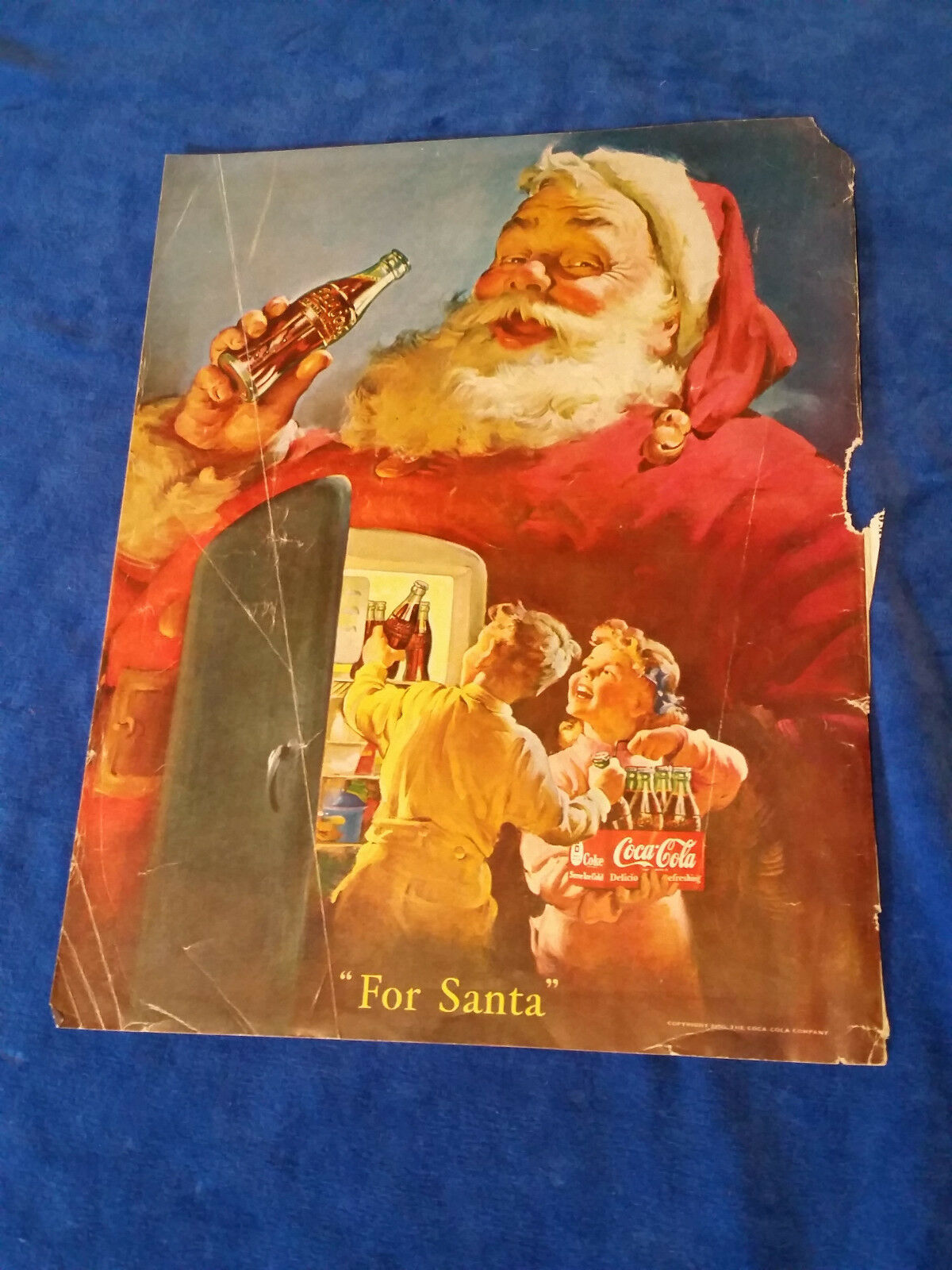 "Primary image for 1950 Original Coca Cola Magazine ad For Santa 10""x12 1/2"""