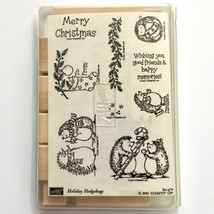 Holiday Hedgehogs Stampin Up Rubber Stamp Set Christmas Card 9 pc Wood M... - $19.80