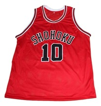 Sakuragi Hanamichi #10 Shohoku Slam Dunk New Men Basketball Jersey Red Any Size image 3