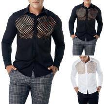 Fashion Men's Autumn Casual Shirts Long Sleeve Shirt Hollow Shirt  Top B... - $60.60